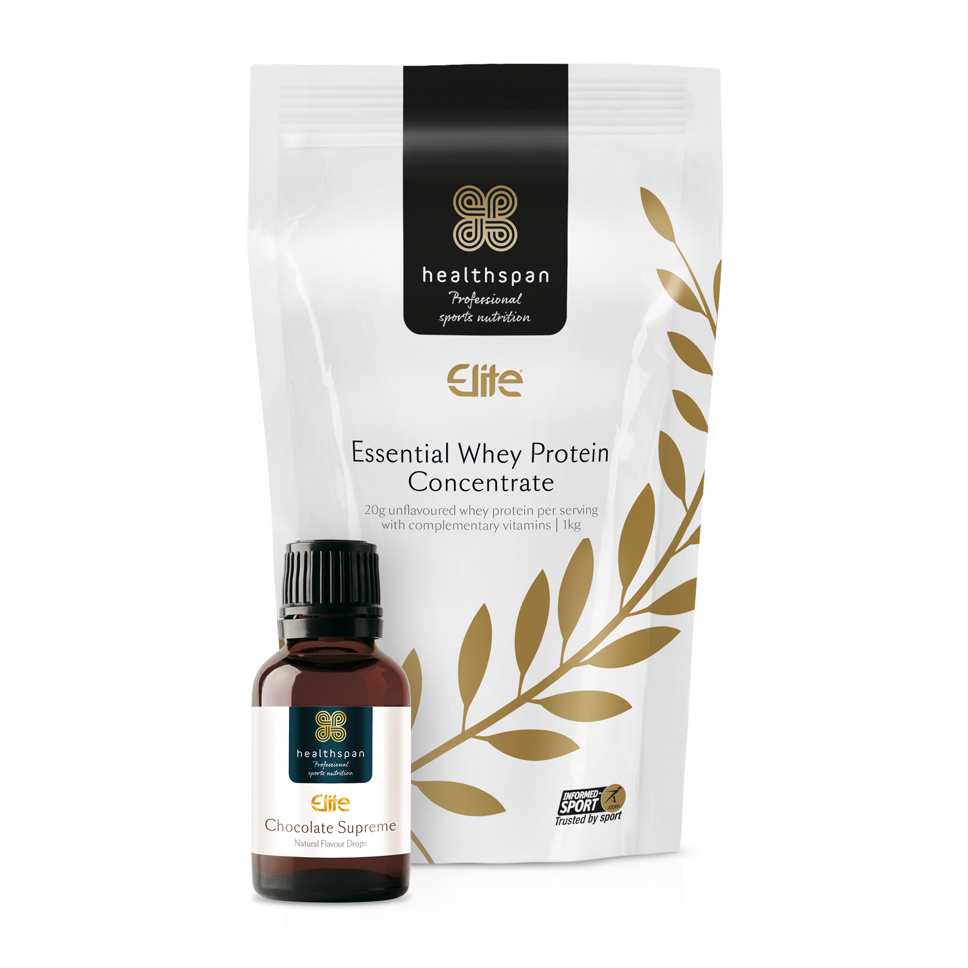 Elite Essential Whey Protein Concentrate 1kg Bag and Chocolate flavour drops